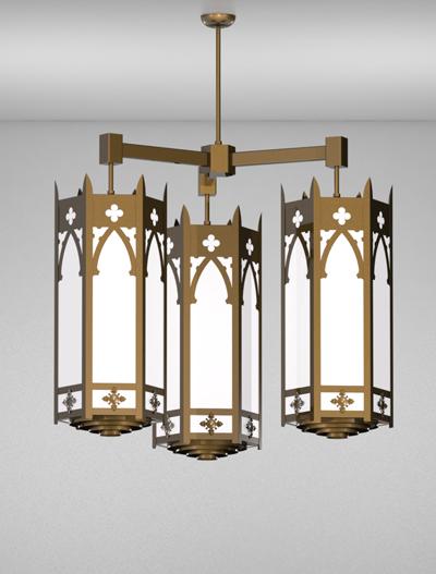 Cambridge Series 3-Arm Cluster Pendant Church Lighting Fixture in Medium Bronze Finish