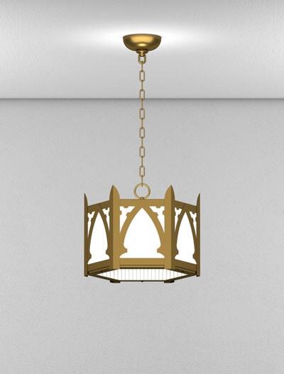 Cambridge Series Short Pendant Church Lighting Fixture in Medium Bronze Finish