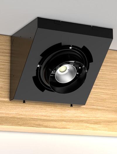 Corner Gimbal Series Directional Church Lighting Fixture in Semi-Gloss Black Finish