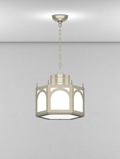 Charleston Series Short Pendant Church Lighting Fixture in Satin Nickel Finish