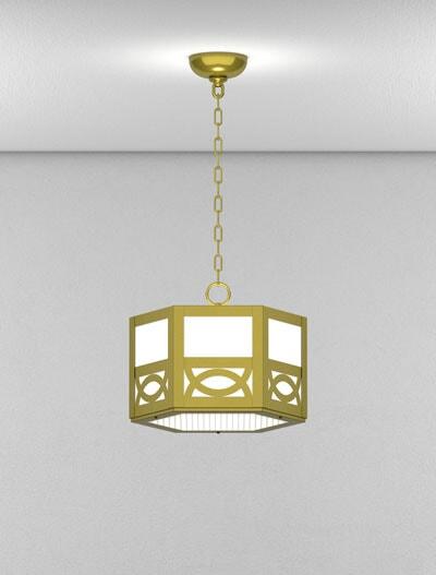 Dover Series Short Pendant Church Lighting Fixture in Satin Brass Finish