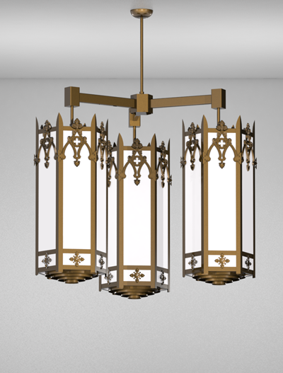 Easton Series 3-Arm Cluster Pendant Church Lighting Fixture in Array Finish