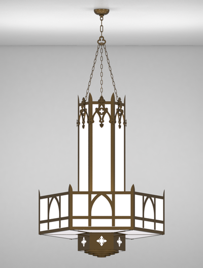 Easton Series 3-Tier Large Pendant Church Lighting Fixture in Array Finish