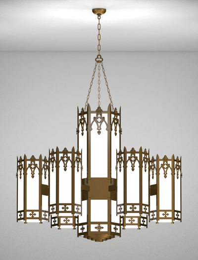 Easton Series 6-Arm Satellite Pendant Church Lighting Fixture in Array Finish