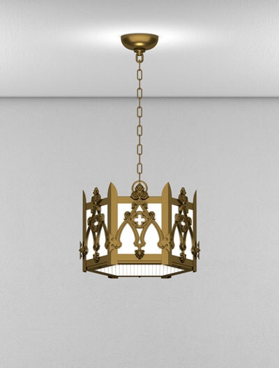 Easton Series Short Pendant Church Lighting Fixture in Medium Bronze Finish