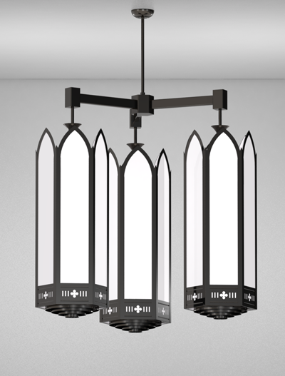 Gainesville Series 3-Arm Cluster Pendant Church Lighting Fixture in Array Finish