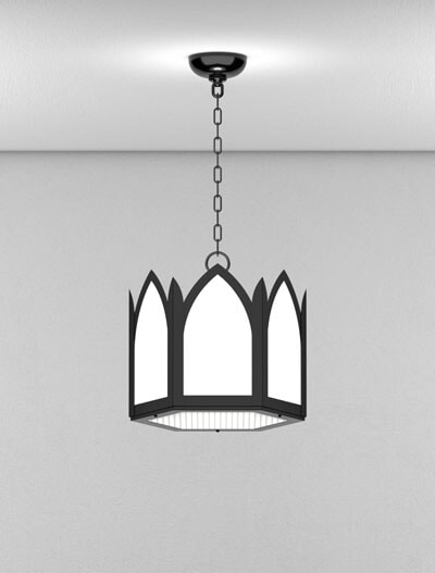 Gainesville Series Short Pendant Church Lighting Fixture in Semi-Gloss Black Finish