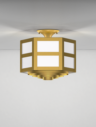 Hebron Series Ceiling Mount Church Lighting Fixture in California Gold Finish