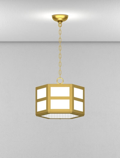 Hebron Series Short Pendant Church Lighting Fixture in California Gold Finish