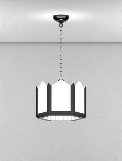 Hancock Series Short Pendant Church Lighting Fixture in Semi-Gloss Black Finish