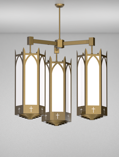 Hartford Series 3-Arm Cluster Pendant Church Lighting Fixture in Array Finish