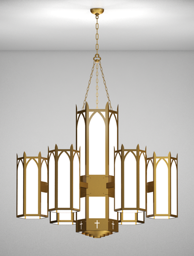 Hartford Series 6-Arm Satellite Pendant Church Lighting Fixture in Array Finish
