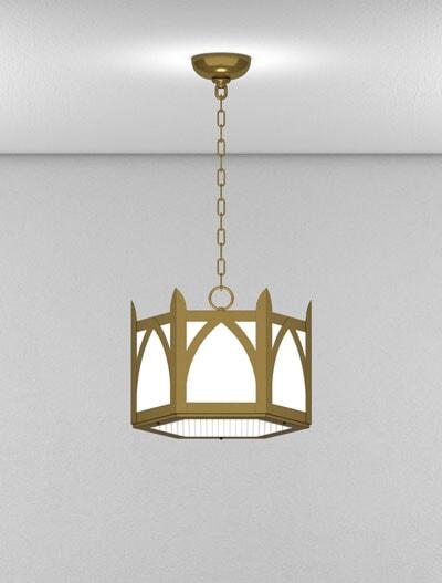 Hartford Series Short Pendant Church Lighting Fixture in Roman Gold Finish