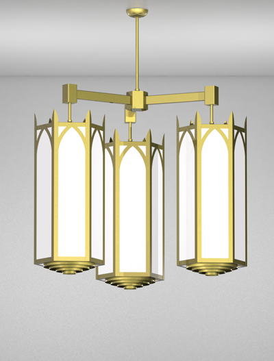 Hagerstown Series 3-Arm Cluster Pendant Church Lighting Fixture in Array Finish