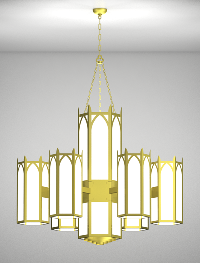 Hagerstown Series 6-Arm Satellite Pendant Church Lighting Fixture in Array Finish