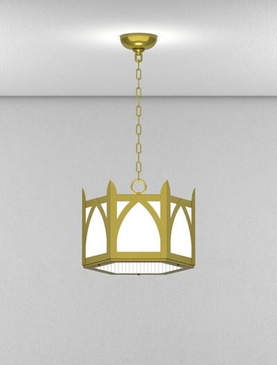 Hagerstown Series Short Pendant Church Lighting Fixture in Satin Brass Finish