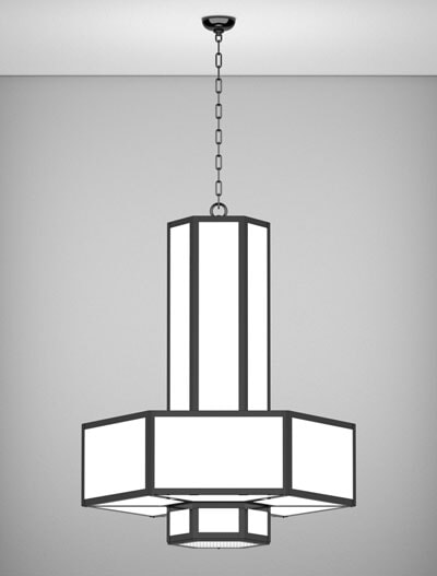 Houston Series 3-Tier Large Pendant Church Lighting Fixture in Semi Gloss Black Finish