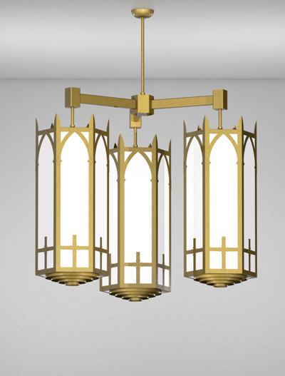 Ipswich Series 3-Arm Cluster Pendant Church Lighting Fixture in California Gold Finish