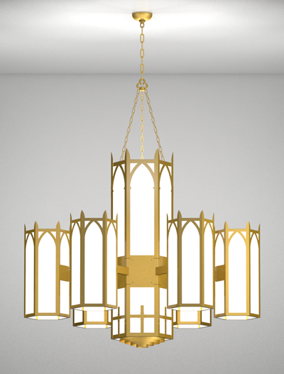 Ipswich Series 6-Arm Satellite Pendant Church Lighting Fixture in Array Finish
