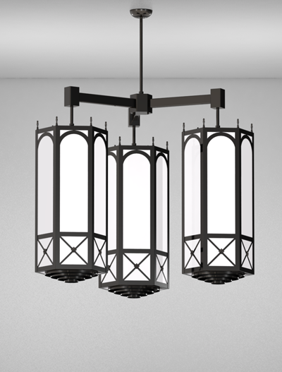 Jamestown Series 3-Arm Cluster Pendant Church Lighting Fixture in Semi-Gloss Black Finish