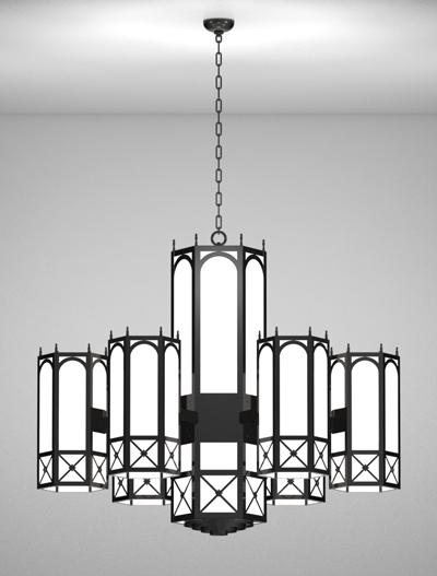 Jamestown Series 6-Arm Satellite Pendant Church Lighting Fixture in Semi Gloss Black Finish
