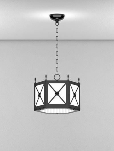 Jamestown Series Short Pendant Church Lighting Fixture in Semi-Gloss Black Finish