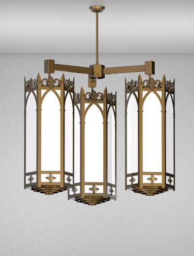 Lancaster Series 3-Arm Cluster Pendant Church Lighting Fixture in Medium Bronze Finish