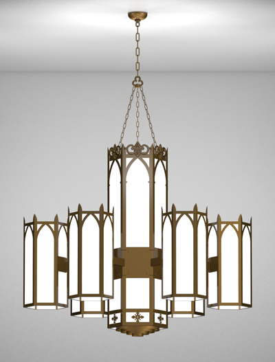 Lancaster Series 6-Arm Satellite Pendant Church Lighting Fixture in Array Finish