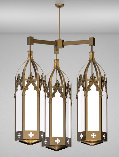 Lafayette Series 3-Arm Cluster Pendant Church Lighting Fixture in Array Finish