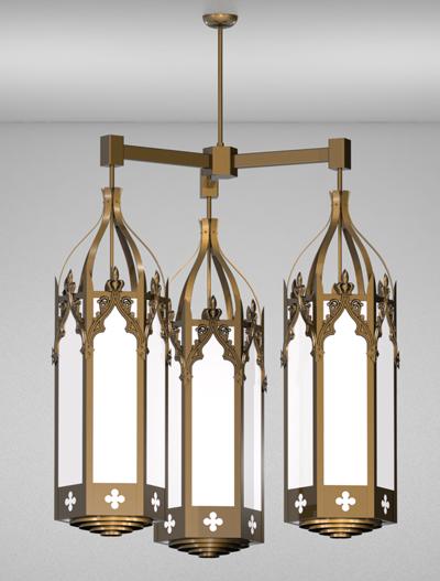 Lafayette Series 3-Arm Cluster Pendant Church Lighting Fixture in Medium Bronze Finish
