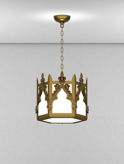 Lafayette Series Short Pendant Church Lighting Fixture in Medium Bronze Finish