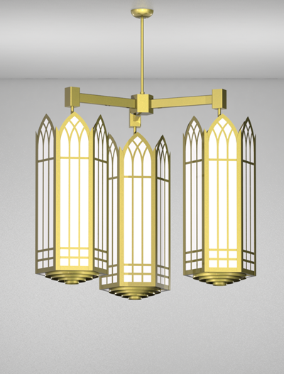 Norwich Series 3-Arm Cluster Pendant Church Lighting Fixture in Array Finish