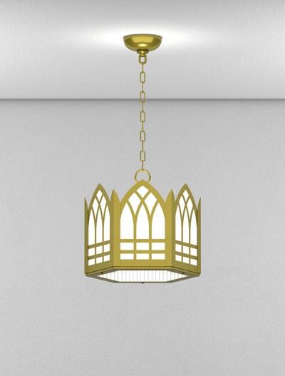 Norwich Series Short Pendant Church Lighting Fixture in Satin Brass Finish