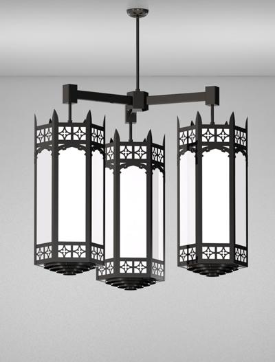 Oxford Series 3-Arm Cluster Pendant Church Lighting Fixture in Semi-Gloss Black Finish