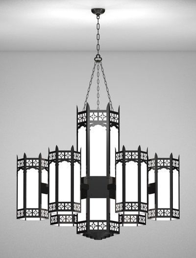 Oxford Series 6-Arm Satellite Pendant Church Lighting Fixture in Semi Gloss Black Finish