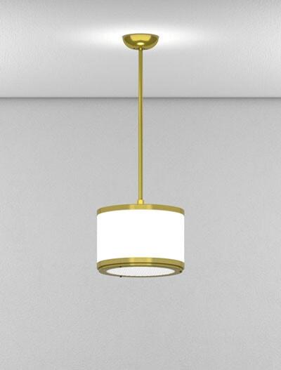 Portland Series Short Pendant Church Lighting Fixture in Satin Brass Finish