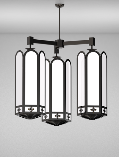 Randolph Series 3-Arm Cluster Pendant Church Lighting Fixture in Array Finish