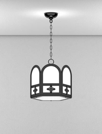 Randolph Series Short Pendant Church Lighting Fixture in Semi-Gloss Black Finish
