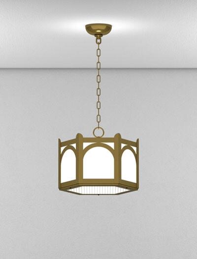 Roselle Series Short Pendant Church Lighting Fixture in Roman Gold Finish