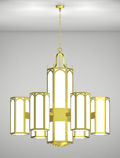 Raleigh Series 6-Arm Satellite Pendant Church Lighting Fixture in Array Finish