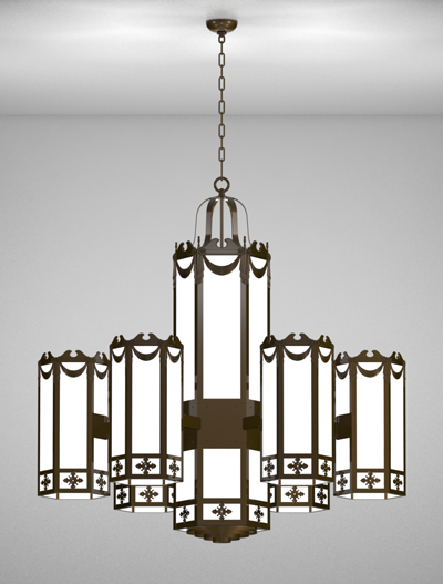 Richmond Series 6-Arm Satellite Pendant Church Lighting Fixture in Array Finish