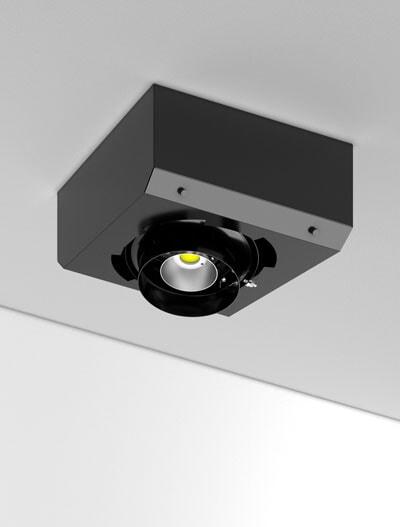 Surface Gimbal Series Directional Church Lighting Fixture in Semi-Gloss Black Finish