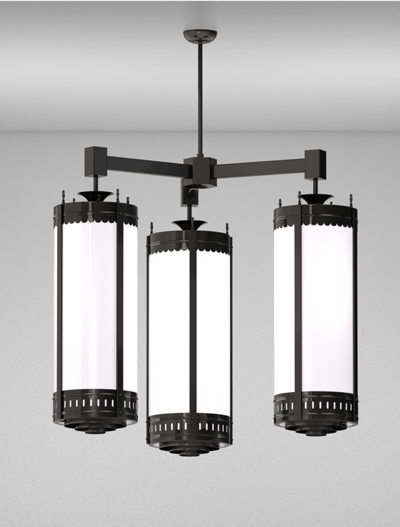 Savannah Series 3-Arm Cluster Pendant Church Lighting Fixture in Array Finish