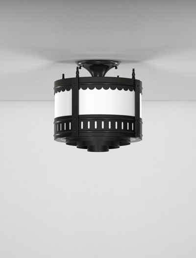 Savannah Series Ceiling Mount Church Lighting Fixture in Semi Gloss Black Finish