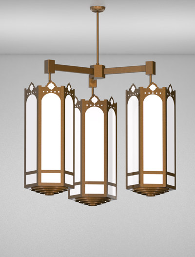 Taos Series 3-Arm Cluster Pendant Church Lighting Fixture in Array Finish