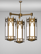 Cambridge Series 3-Arm Cluster Pendant Church Light Fixture