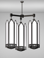 Gainesville Series 3-Arm Cluster Pendant Church Light Fixture