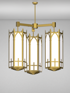 Ipswich Series 3-Arm Cluster Pendant Church Light Fixture