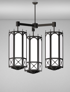 Jamestown Series 3-Arm Cluster Pendant Church Light Fixture
