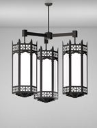 Oxford Series 3-Arm Cluster Pendant Church Light Fixture
